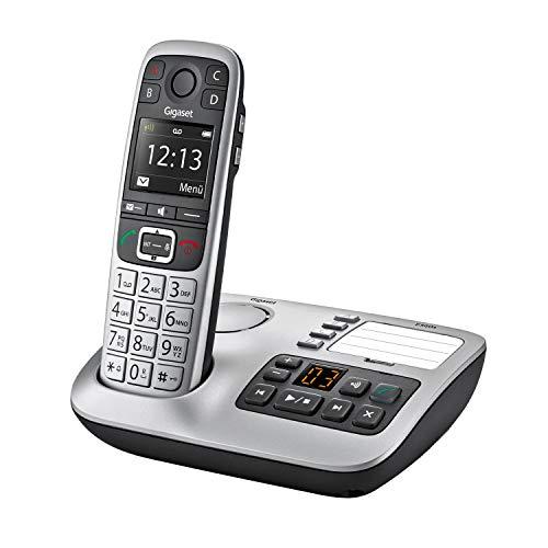 Gigaset E560A, Schnurloses Seniorenelefon mit Anrufbeantworter, Notruftaste für 4 SOS-Nummern, Extra-Laut-Taste, Freisprechen in exzellenter Klangqualität - extragroße Tasten, silber