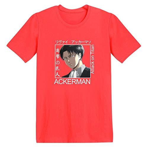 T-Shirt Camiseta de Manga Corta Hecha,Ataque en el Día Gigante, Suéter, Camiseta de Manga Corta de Anime-Rojo c_XXS