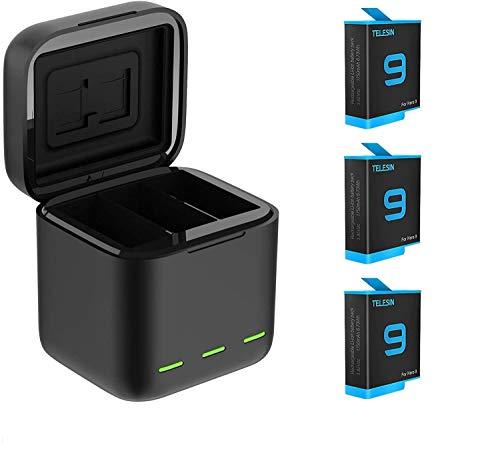 AuyKoo 3 Batteria(1750 mAh)+Caricabatteria Accessorio per GoPro Hero 10 9 Black,Batterie Ricaricabile+Custodia di Ricarica con Cavo USB Tipo C Completamente Compatibile con l'originale GoPro Hero 10 9