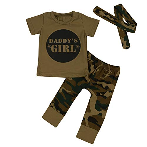 3 Stks Baby Baby Baby Jongen Gril Militaire Camo Sport T Shirt+Camouflage Broek+Hoofdband Meisje 100