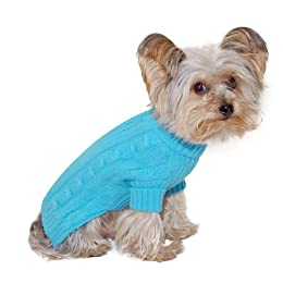 Blue Turtleneck Dog Jumper Classic Aran Knit