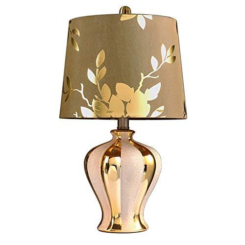 TJLSS Lámpara de Mesa Lámpara de Mesa Dormitorio Europeo Lámpara de mesilla de Noche con Base de cerámica Dorada y Pantalla de Tela, Luces Decorativas de la Sala de Estar,