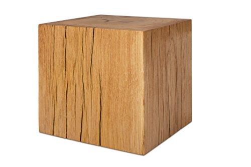 GREENHAUS Holzblock Eiche Massiv 30x30x30 cm Handarbeit und Massivholz aus Deutschland Holzklotz Hocker Beistelltisch