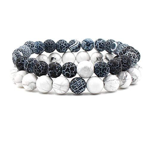 Souarts - 2 braccialetti unisex con perle di pietra naturale, 18-21 cm, elastico, per uomo e donna e placcato Argento, colore: Bianco/grigio, cod. C0AA00RA8F7R