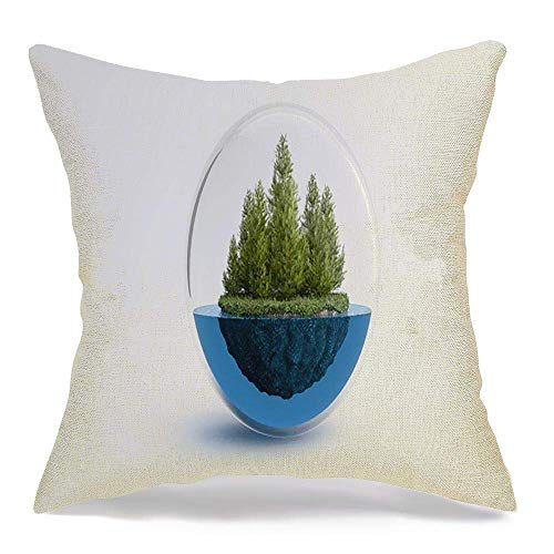 Pamela Hill Throw Pillow Covers Case Piece Forest Floating Water Balance 3D Cristal Destruction Bubble Climate Science White Education 18 x 18 Inch