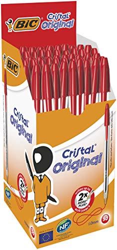 BIC Kugelschreiber Cristal Medium, 50 Kulis in Rot, Kugelschreiberset fürs Büro, Strichstärke 0,4 mm
