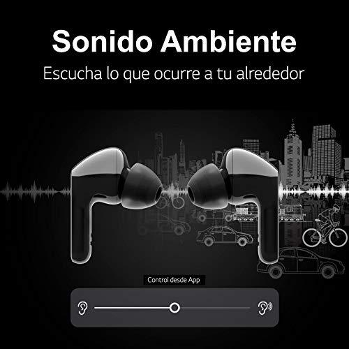 LG Tone Free HBS-FN6B - Auriculares True Wireless (Sonido Meridian, Bluetooth 5.0, Estuche de Carga con Limpieza UVnano, Carga rápida, comandos de Voz Google, protección IPX4 y Doble micrófono) Negro