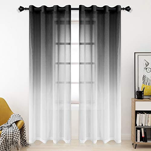 Bermino Faux Linen Ombre Sheer Curtains, 54 x 95 inch, Black - Grommet Gradient Voile Semi Sheer Curtains for Bedroom and Living Room, Set of 2 Curtain Panels