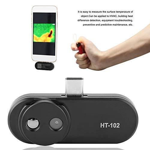 HT-102 thermografische camera voor Android USB type C, resolutie 640 x 480, videoondersteuning en beeldopname, thermocamera met gezichtsherkenning, zwart