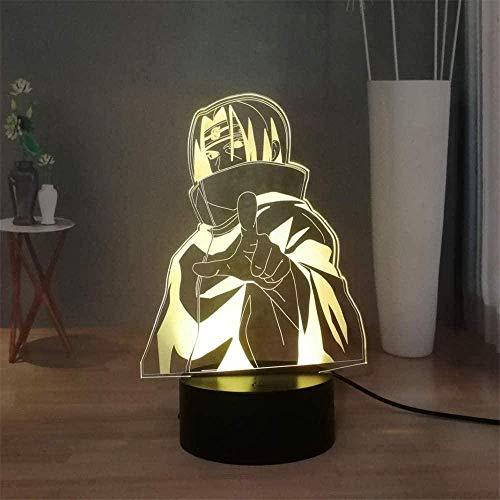 3D Visual Lámpara Naruto Uchiha Itachi Lámparas de estado de ánimo 16 Colores Led Luces con Interruptor Táctil para Niños Regalos Decoración Dormitorio