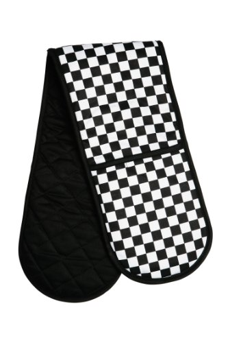 Premier Housewares Check Mate Double Oven Glove - Black/White