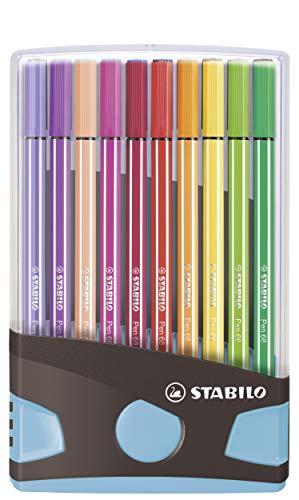 Premium-Filzstift - STABILO Pen 68 ColorParade - 20er Tischset in anthrazit/hellblau - mit 20 verschiedenen Farben