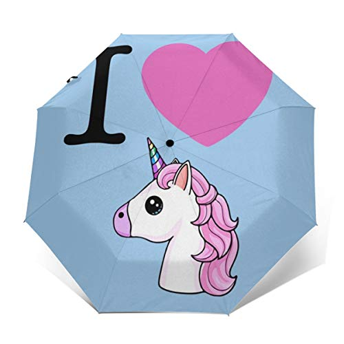 Herz, Einhörner, Emoji, Winddicht, kompakt, automatisch, faltbar, Reise-Sonnenschirm