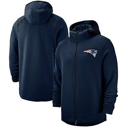 TTH-13 NFL Hoodie Männer - New England Patriots Football Jersey Rugby Sweatshirts Langarm Pullover Trainings Reißverschlusshoodie Für Herbst-Winter,A,XXXL/185~190cm