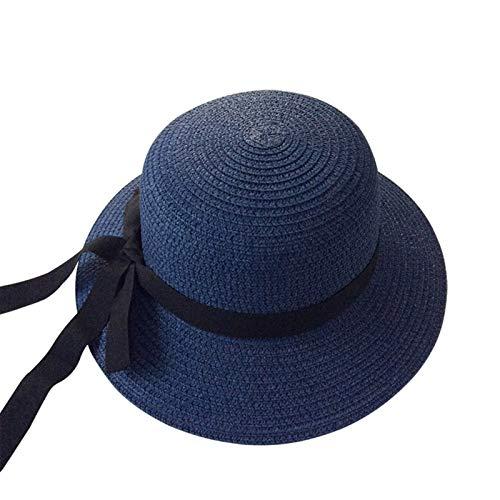 XIARUI Sommerhut für Mädchen, schwarzes Band, dekoriert gewellter Strohhut für Mädchen, Kinder, Sonnenhut für Baby, Strandhüte (Farbe: marineblaues schwarzes Band, Größe: 2 bis 5 Jahre)