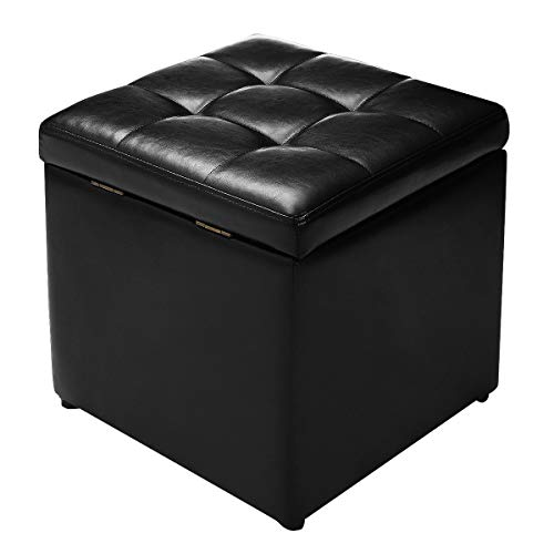 """Giantex 16"""" Cube Ottoman Pouffe Storage Box Lounge Seat Footstools W/Hinge Top and Bottom Feet Home Living Room Bedroom Furniture Storage Ottoman 16""""×16"""" ×16""""Footrest Stool (Black)"""