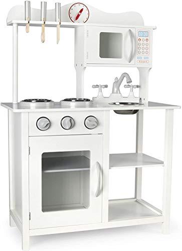 Leomark Klassische Holzküche für Kinder - Weiße - Spielzeug Kinderküche mit Zubehör, Kinderspielküche, Küchenspielzeug, Spielzeug Licht und Soundeffekte