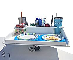utility table with cup holders and storage for boats