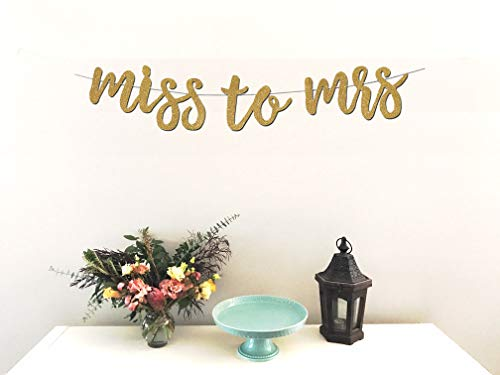 Miss to Mrs Banner - Premium Gold Glitter Cardstock Paper - Larger Text For Better Visibility - Perfect Decoration For Bridal Shower, Engagement, Bachelorette, Lingerie Party