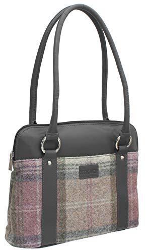 Mala Leather ABERTWEED Collection Leather & Tweed Shoulder Bag 719_40 Slate
