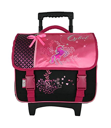 Cartable à roulettes 38 cm Cybel Licorne Cheval Rose Bagtrotter