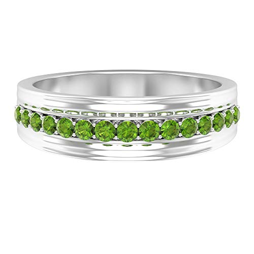 Anillo de boda de piedras preciosas, anillo de peridoto de 1/2 quilates, anillo de piedra de nacimiento de agosto, anillo vintage, anillo de declaración, 14K Oro blanco, peridoto, Size:US 57