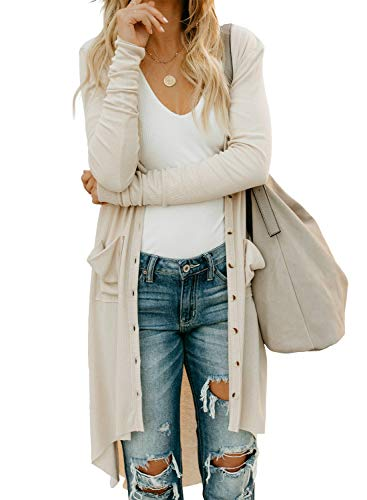 Sidefeel-Women-Long-Sleeve-Solid-Color-Button-Down-Knit-Ribbed-Cardigans-Outwear