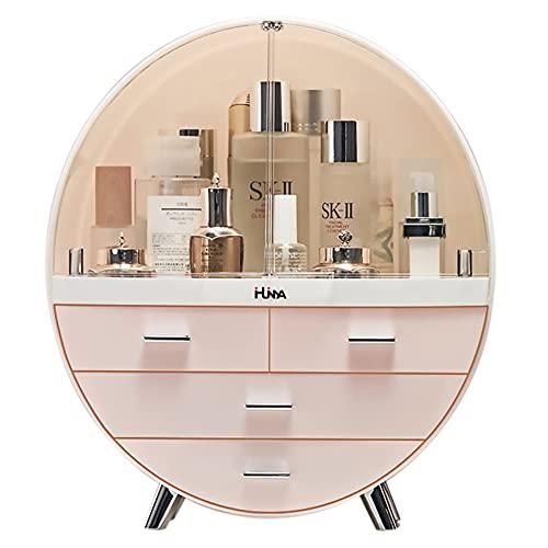 Ihuiniya Makeup Storage Organizer Box,Cosmetics storage display rack with drawer,Waterproof, dustproof, elegant display cabinet,Suitable for bathroom countertop, bedroom dresser (Large Pink)