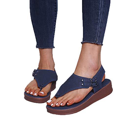 ZJMM Zapatos De Verano para Mujer Azul Oscuro con Hebilla De Cabeza Redonda Sandalias Casuales De Talla Grande Sandalias De Tacón Plano para Mujer con Fondo Plano Hueco