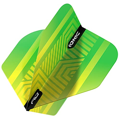 RED DRAGON Hardcore Ionic Green and Yellow Dart Flights - 3 Sets Per Pack (9 Dart Flights in total)