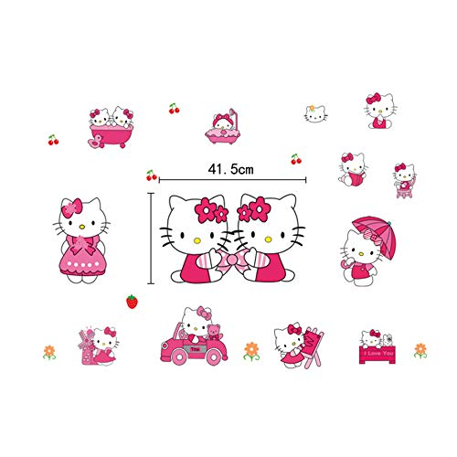 Girls Bathroom Wall Decals Anime Hello Kitty Wall Sticker Cartoon Wall Decals For Kids Rooms Vinyl Wall Decals For Bedroom Cute Kids Wall Stickers Hello Kitty Childrens Wall Decals Stickers For Kids