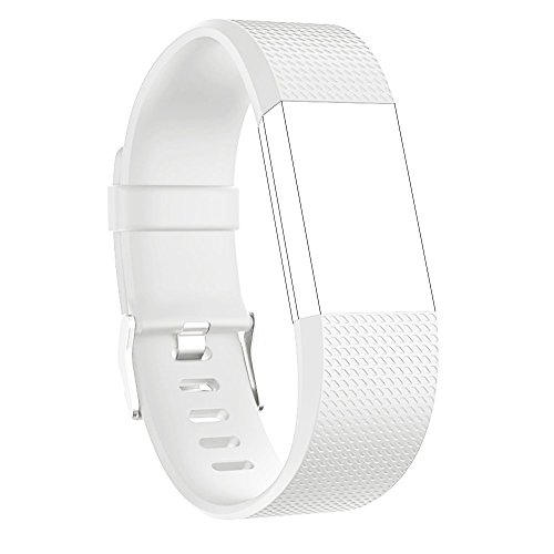 LightsGoal Fitbit Charge 2 Bracciale, S & L Dimensione Replacement Wrist Strap Band, orologio bracciale per Fitbit Charge 2 (Large, bianco)