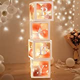 Termichy Baby Shower Boxes Party Decorations with Fairy Lights, 4 PCS Transparent Baby Shower Blocks with 4 LED String Lights for Girls Boys Baby Shower, Gender Reveal Party Decorations (White)