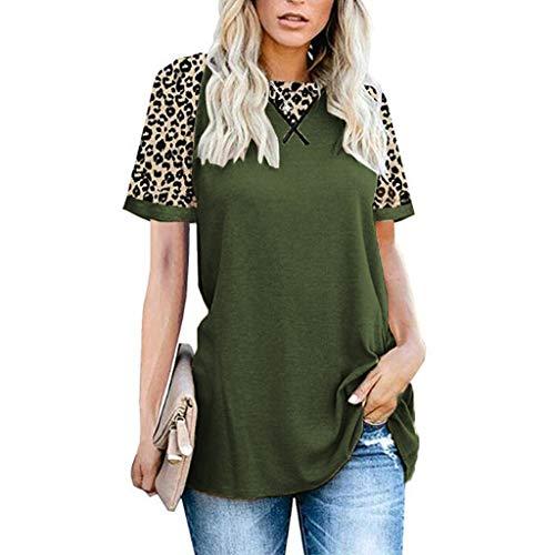 YYH Dames T-shirt Luipaard Print Tops Korte Mouw Crew Neck T Shirt Basic Casual korte mouw Shirt 2XL Leger Groen