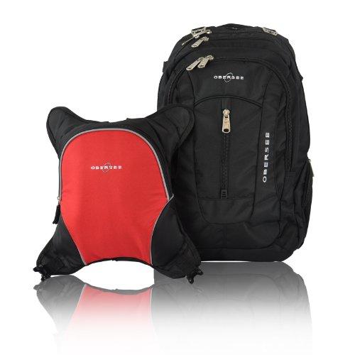 Obersee Bern - Mochila para pañales con bolsa isotérmica separable (negro y rojo)
