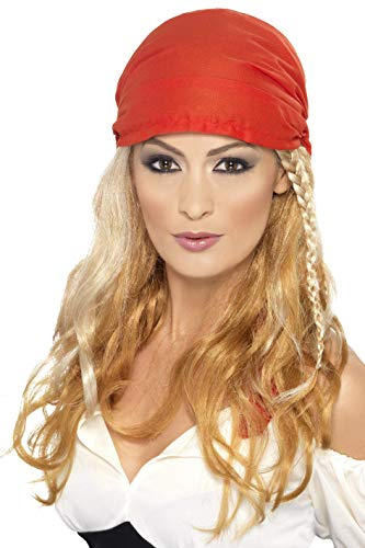 Smiffys Perruque de princesse pirate, blonde, avec bandana