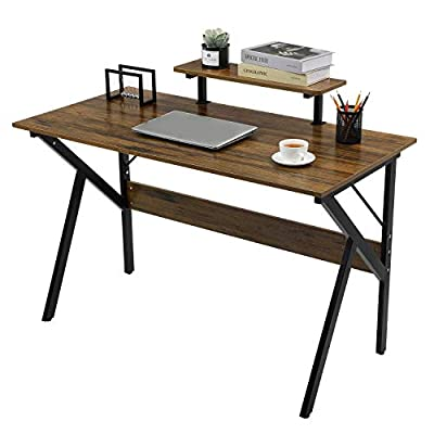 GreenForest Computer Desk Writing Study Desk with Moveable Monitor Stand Shelf K-Shaped Legs