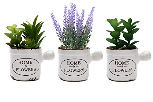 L2b Lifelike Artificial Mini Fake Plants in Vintage Ceramic Pots, Succulents and Lavender, Home and Office Décor – Set of 3