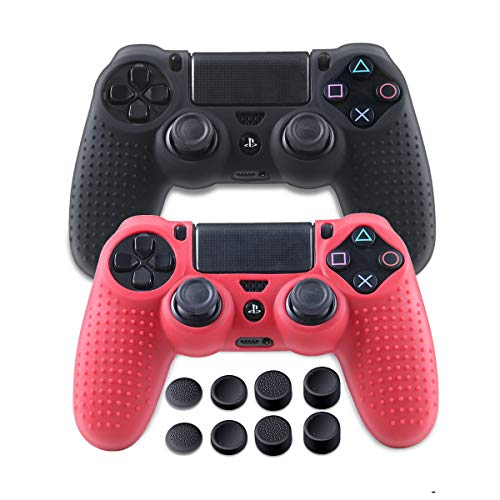 Silicone Covers PS4 Controller - Anti-Slip Protector Case Set for Sony PS4, PS4 Slim, PS4 Pro - 2 Pack PS4 Controller Skins - 4 Pairs FPS PRO Thumb Grips