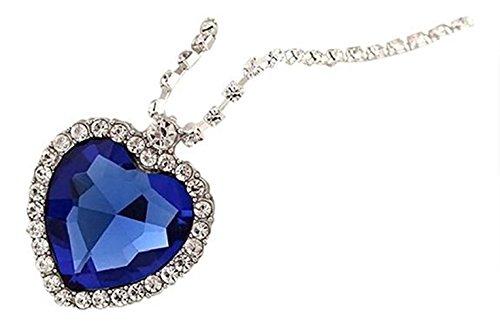 Isijie jewelry Royal Blue Heart of Ocean Titanic Pendants Sapphire Crystal Necklace for Women & Girls