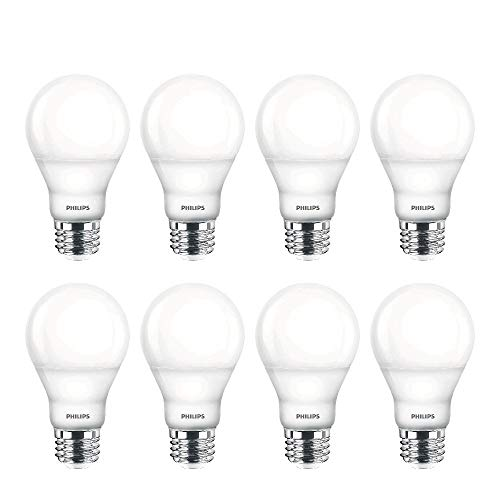 Philips LED Dimmable A19 Soft White Light Bulb with Warm Glow Effect: 800-Lumen, 2700-2200-Kelvin, 10-Watt (60-Watt Equivalent), E26 Base, Clear, 8-Pack (Old Generation)