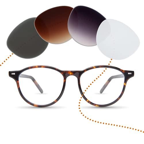 Sym Runde Brille mit Sehstärke von -4,00 bis +4,00 mit auswechselbaren Gläsern in 6 Farben für Kurzsichtigkeit und Weitsichtigkeit - Damen - Kiez Kollektion Modell Kollwitz...