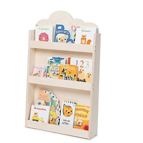 Dotty by moblì® | La librería montessoriana para niños | Estantes de 3 Alturas en Madera Natural | Colocación Frontal de los Libros | Ahorro de Espacio | Made in Italy (Madera Natural, Nube)