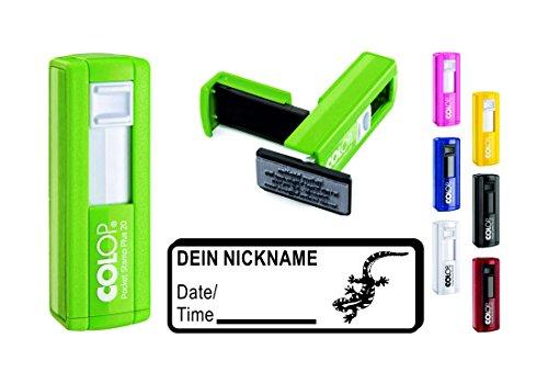 Geocachingstempel Pocketstempel SALAMANDER Abdruck 37 x 14 mm Wunschtext Nicknamen Geocaching Stempel Logbuchstempel Gecko