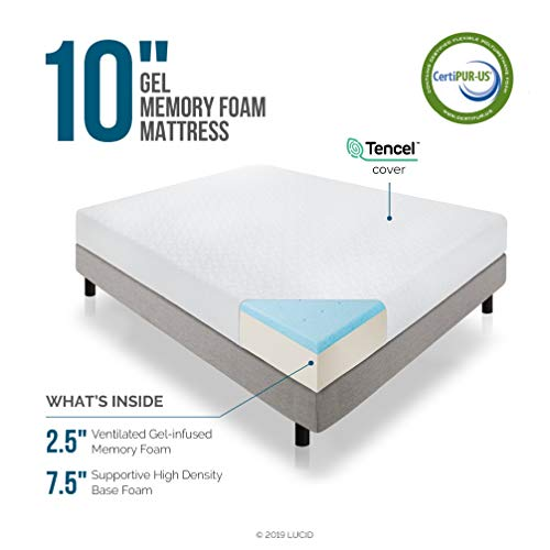 LUCID 10 Inch 2019 Gel Memory Foam Mattress - Medium Firm Feel - CertiPUR-US Certified (Short Queen)