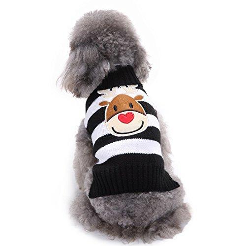 Aisuper Cartoon Print Santa Elk Rendier Patroon Trui Voor Honden Puppy Kleding Sweatshirt Warm Nieuwjaar Kerstmis Xmas Party Knitwear Voor Kleine Medium Grote Huisdieren Gift, L (Chest: 18.89