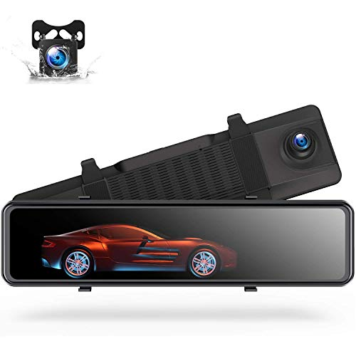 "TOGUARD 12"" 4K Mirror Dash Cam GPS Voice Control Rearview Dual Lens Camera Full Touch Screen Front and Rear Waterproof Backup Camera with Night Vision"