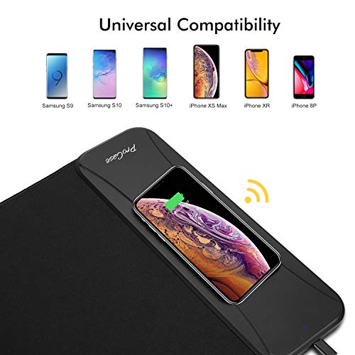 ProCase Wireless Charging Mouse Pad, 10W Wireless Charger Extended Soft Gaming Mousepad 2 in 1 Mat for iPhone 11 Pro Max…