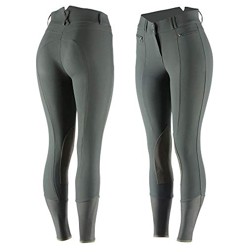 Horze Angelina Damen Reithose Kniebesatz Leder Patches, Damen, Lichen dunkelgrün, 22