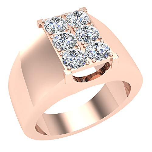 1,26Ct Tw seis piedra de hombre blanco Diamond Cluster anillo oro 18K (G, vs)